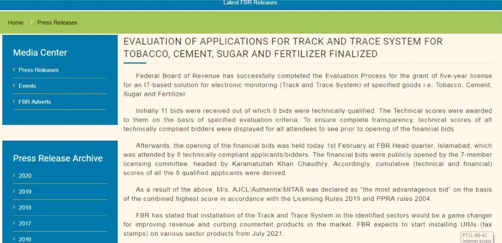 FBR-Press-Release-Track-Trace-System