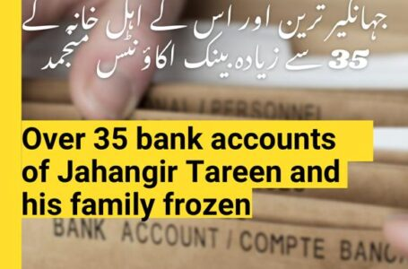 Over 35 bank accounts of Jahangir Tareen and his family frozen