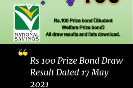 Rs. 100 Prize Bond Draw Result & List Dated 17 May 2021