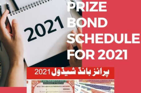 Schedule of Prize Bonds Draw from January 2021 to December 2021