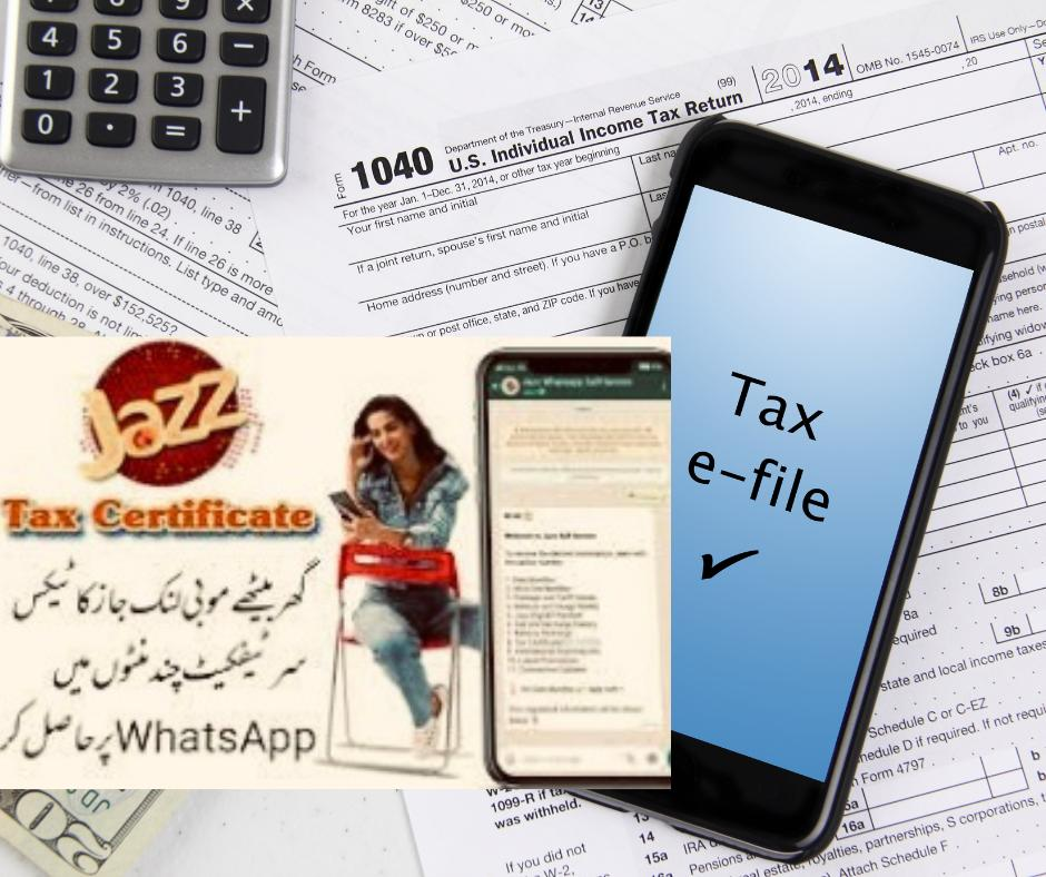 Jazz Mobilink Tax Deduction Certificate via Online Mobile App WhatsApp and SMS