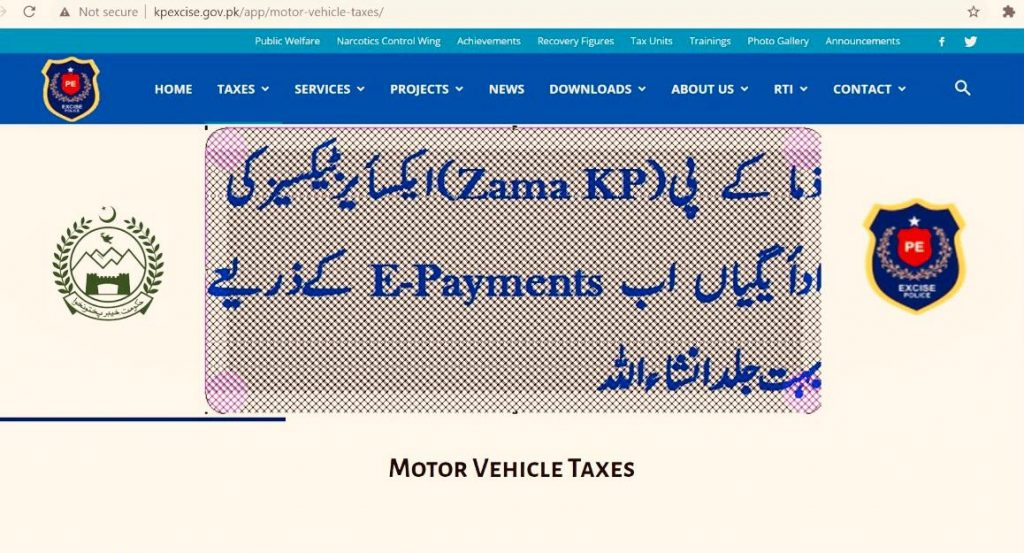 Online Payment of taxes of KPK province