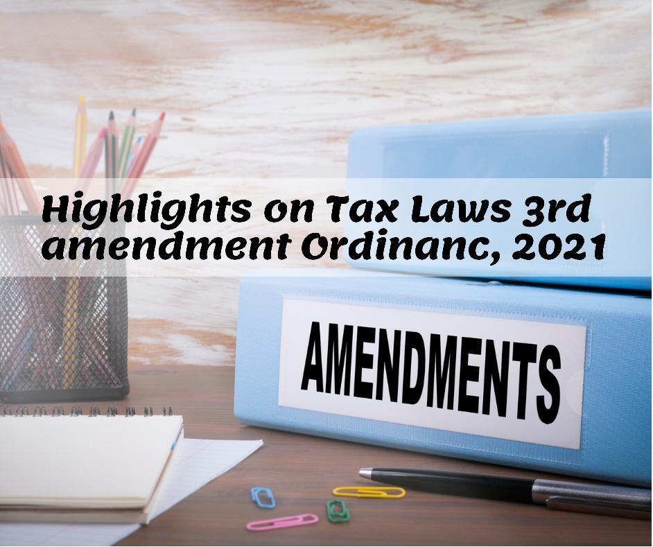 Tax Laws third amendment Ordinance 2021